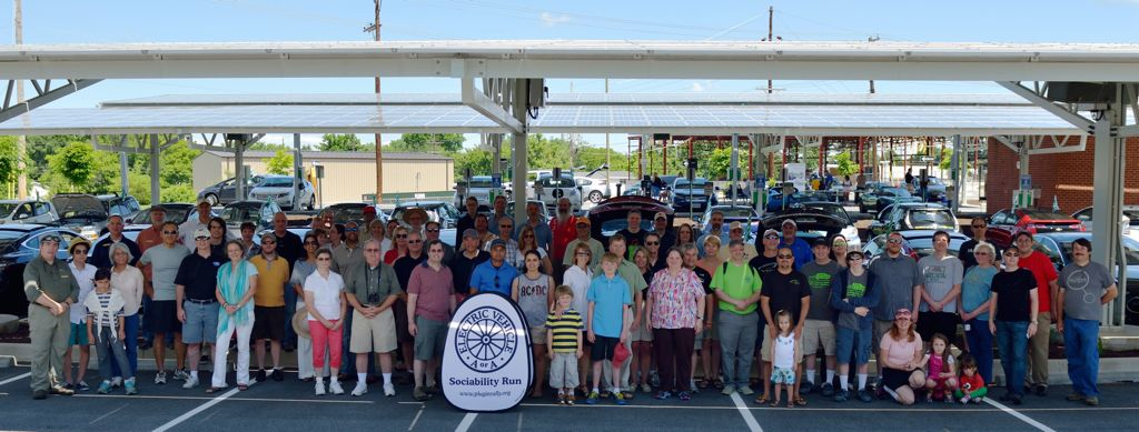 Peter Soukup photo of WV EV Sociability Run participants at APUS solar array